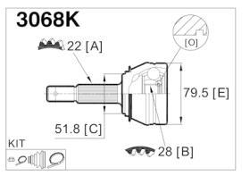 GLO 3068K - Junta homocinetica Opel